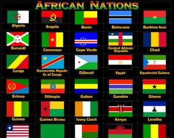 World Nation Flag Posters, African Nations Flags Poster,Caribbean Nation Flag Posters, North, South & Central America Flags, Asian,European