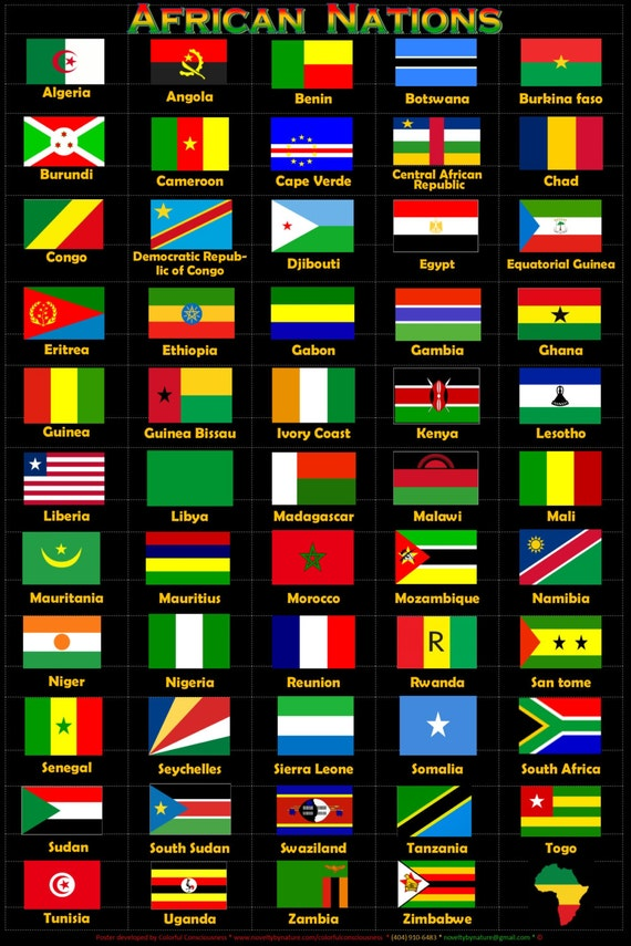 world nation flag posters african nations flags etsy