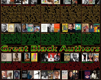 Great Black Authors Poster, Black History Poster