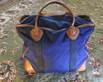 Vintage 1970 s LL BEAN Boat   Tote Canvas Bag Freeport Maine Leather Handle 20bbc46937