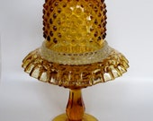 fenton glass hobnail pedestal Fairy Lamp 3 Piece Fairy Light Fairy Lantern Hobnail Candle Holder BONUS matching dish bowl crimped ruffled