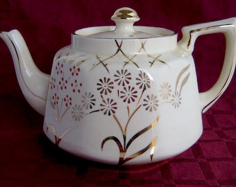 price bros brothers england art deco teapot tea pot Enamel Dot flowers hand-painted Gold 1930s