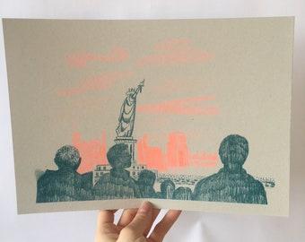 Lady Liberty - Risograph Print