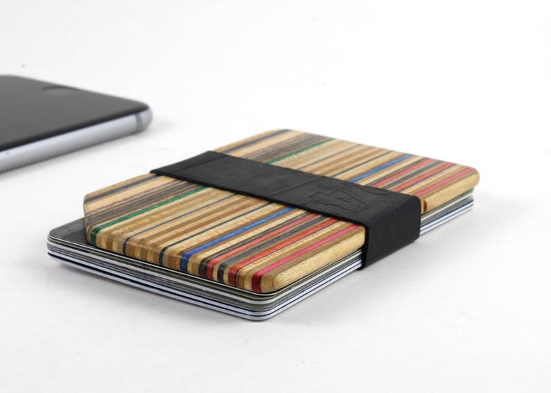 Minimalist Slim Wallet made from Recycled Skateboards image 0