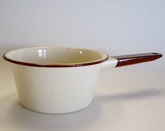 Tan and Brown Enamelware Pan - Cookware, Saucepan, Kitchen Decor