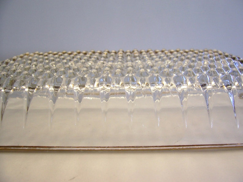 SALE !Clear Glass Divided Relish Dish with Gold Trim Vintage Dish Glass Dish Hobnail Design Serving Dish Divided Dish