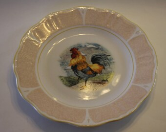 Set of 4 Warren Kimble Rooster Plates by Sakura Casual Dining