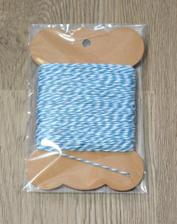Free shipping 240 yards full spool Bakers twine aqua bluewhite 4ply cotton for tags packaging cards banners clearance sale