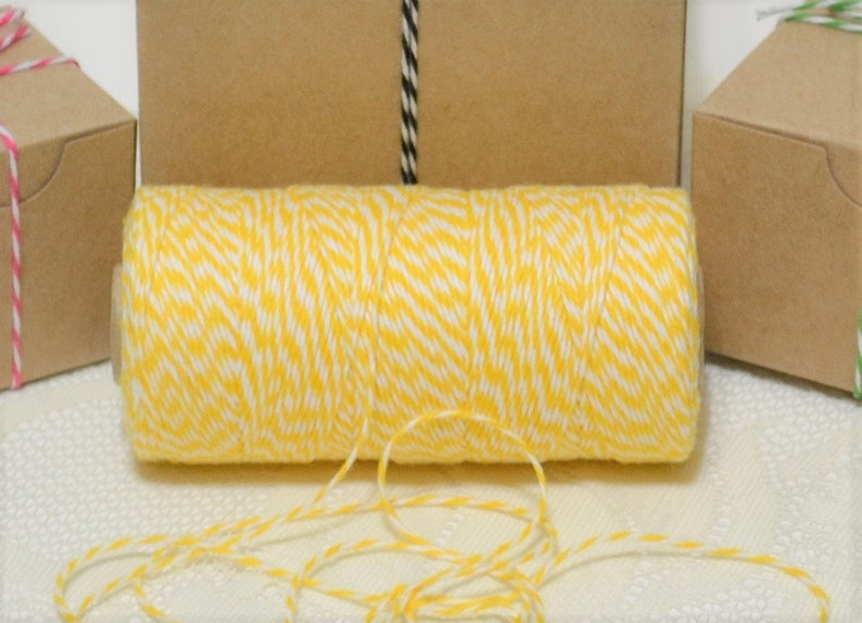 Free shipping 240 yards full spool Bakers twine bright yellowwhite 4ply cotton for tags packaging cards banners clearance sale