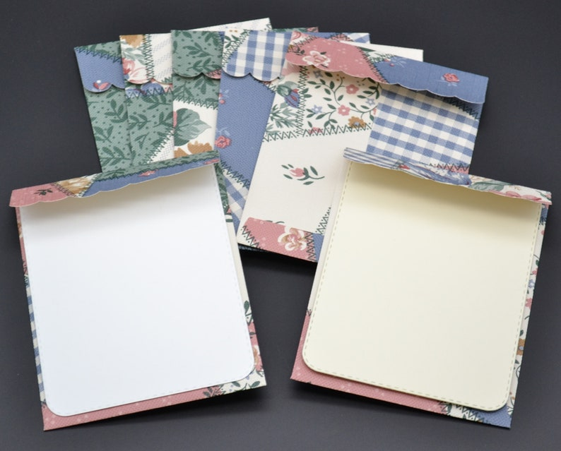 mini envelopes 3 14 x 4 14 wallpaper 7 blue patchwork quilt look scalloped stiched flap available with or without flat note cards 9