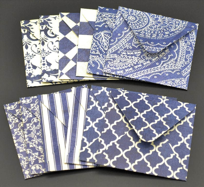 mini envelopes 2 12 x 2 12 set of 12 dark blue white with or without scalloped flat note cards tiny note gift thank you tag 2.5 x 2.5