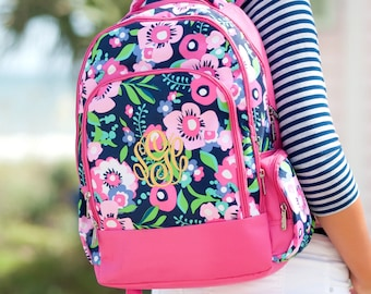 Posie Backpack - Monogrammed or Personalized with Embroidered Name - Back to School Book Bag Hot Pink & Navy