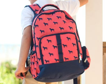 Dog Days Backpack - Monogrammed or Personalized with Embroidered Name - Back to School Book Bag Orange Dogs