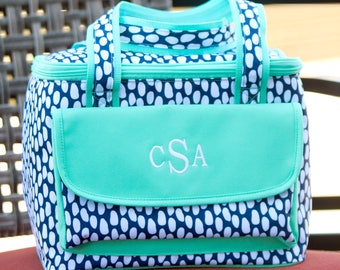 Tide Pool Cooler Lunch Tote - Monogrammed - Navy Blue Abstract Polka Dots Personalized Insulated Bag