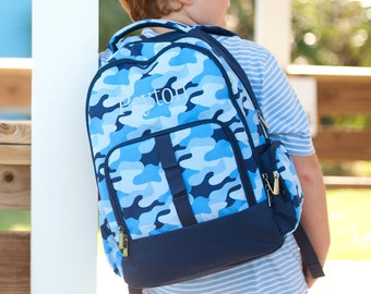 Cool Camo Backpack - Monogrammed or Personalized with Embroidered Name - Back to School Book Bag Blue Camouflage