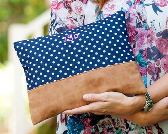 Charlie Dot Navy Blue Polka Dot Zip Pouch Cosmetic Bag Accessory Bag - Monogrammed - Shoe Bag, Toiletry Travel