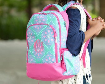 Marlee Backpack - Monogrammed or Personalized with Embroidered Name - Back to School Book Bag Pink, Aqua