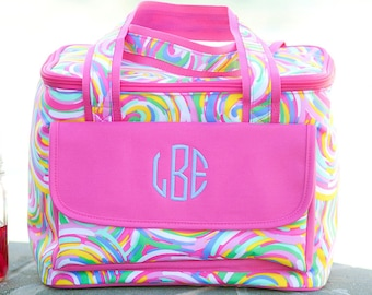 Summer Sorbet Cooler Lunch Tote - Monogrammed - Swirling Rainbow Design Personalized Insulated Bag