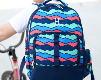 Overlook Backpack - Monogrammed or Personalized with Embroidered Name -  Back to School Book Bag Abstract Print Mint Coral Navy Blue 1096e423846f7
