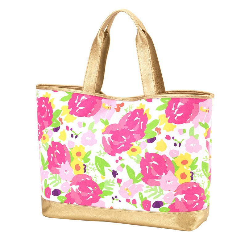 Monogram Floral Cabana Tote with Metallic Vegan Leather Trim Personalized Beach Bag Carry All Tote Book Bag Diaper Bag