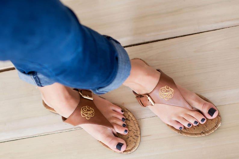 6d03d4bc8bf3c Brown Monogram Natalie Sandals - Stylish Personalized Vegan Leather Flip  Flop Sandals