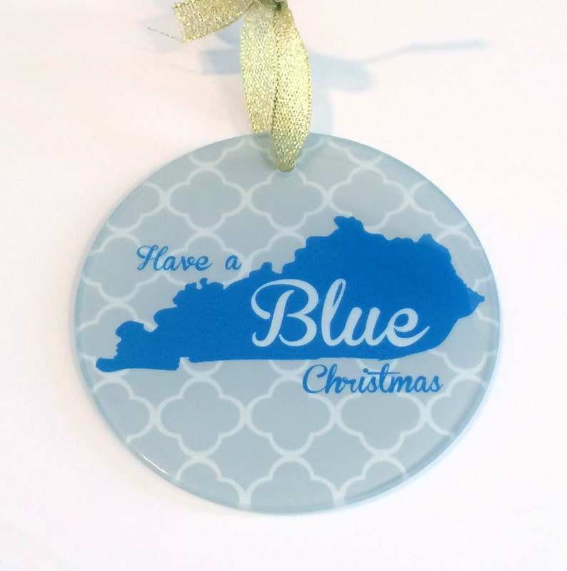 Custom Kentucky Glass Christmas Ornament UK Blue with KY State Design Choice of 9 Background Patterns Have a Blue Christmas