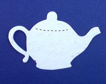 """20 Brewing Teapot Plantable Wildflower Seeded Paper Shape Favors 3"""" x 2"""" DIY, 39 Colors Available"""
