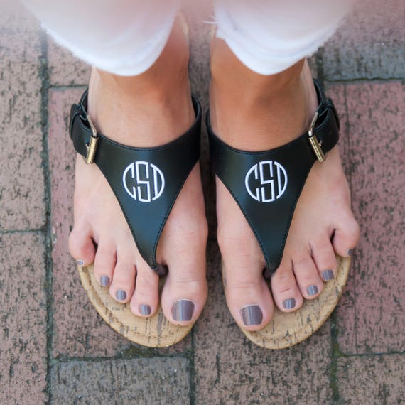 3fedc77ad83ed Black Monogram Natalie Sandals - Stylish Personalized Vegan Leather Flip  Flop Sandals