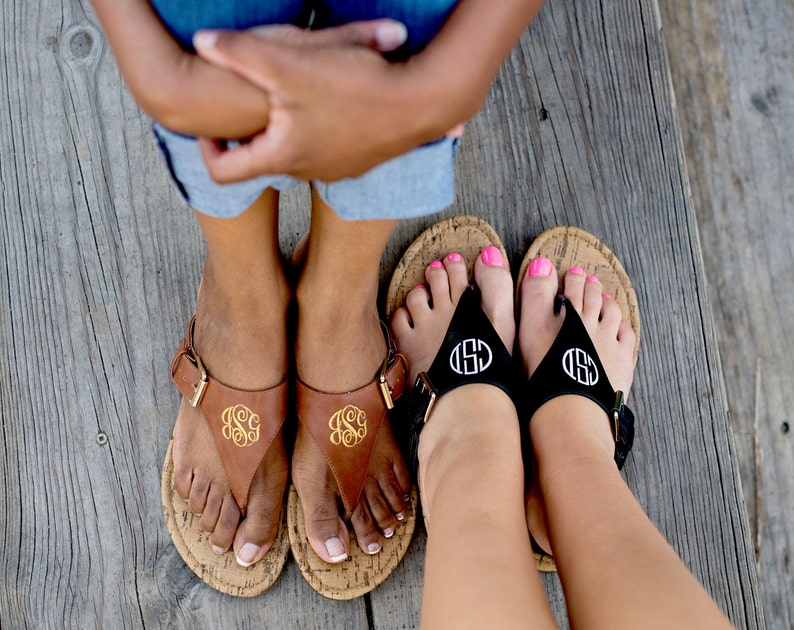 037f3e927464b SALE - Monogram Natalie Sandals in Brown or Black - Stylish Personalized  Leather-Like Flip Flop Sandals
