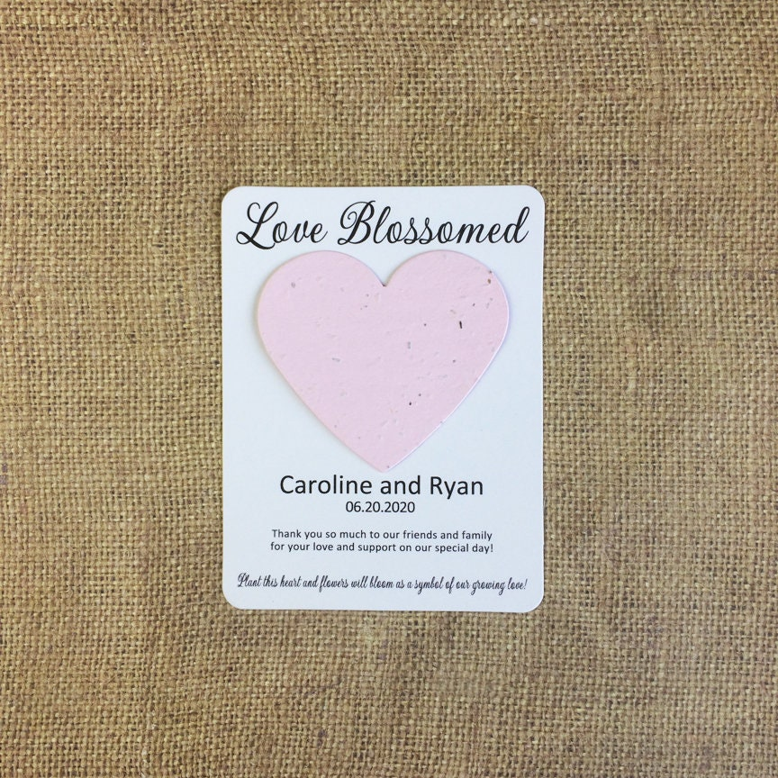 Love Blossomed Heart Plantable Seed Recycled Paper Wedding Etsy