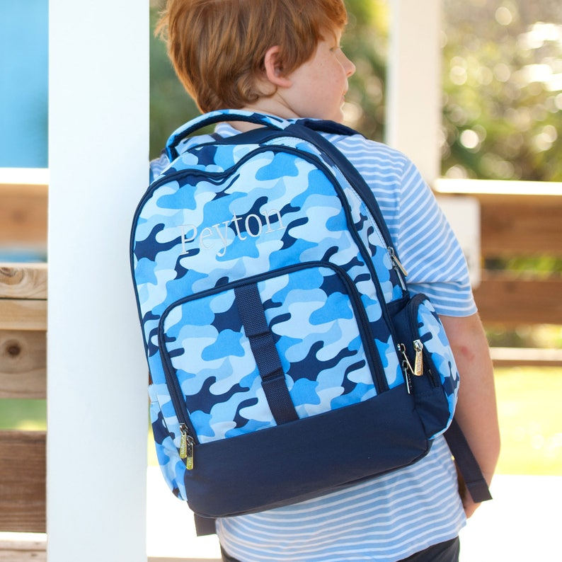 Monogrammed or Personalized with Embroidered Name Cool Camo Backpack ON SALE Back to School Book Bag Blue Camouflage