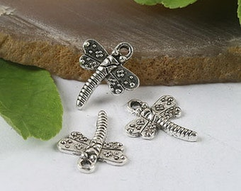 35pcs tibetan silver dragonfly charm bead findings h0369