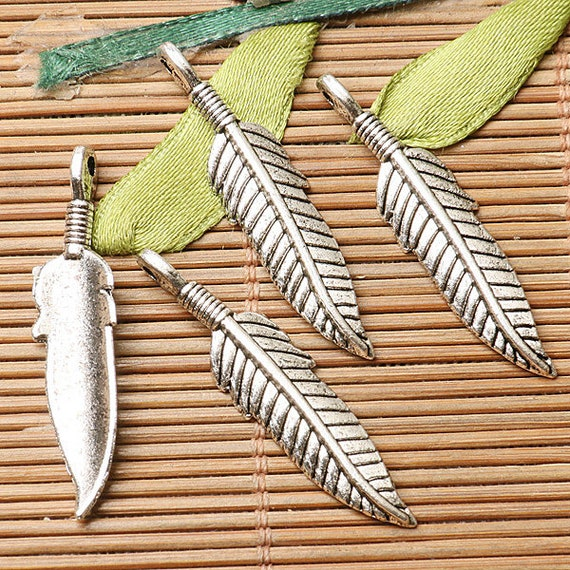14pcs dark silver color feather design charms  EF2788