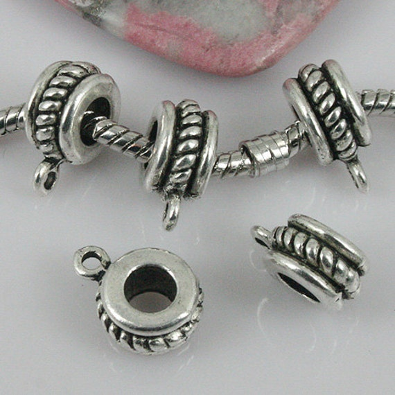 Alloy metal Tibetan Silver color round spacer bail charms 40pcs EF0029