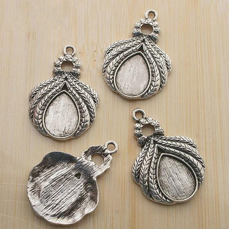 10pcs  antiqued silver cabochon settings G44