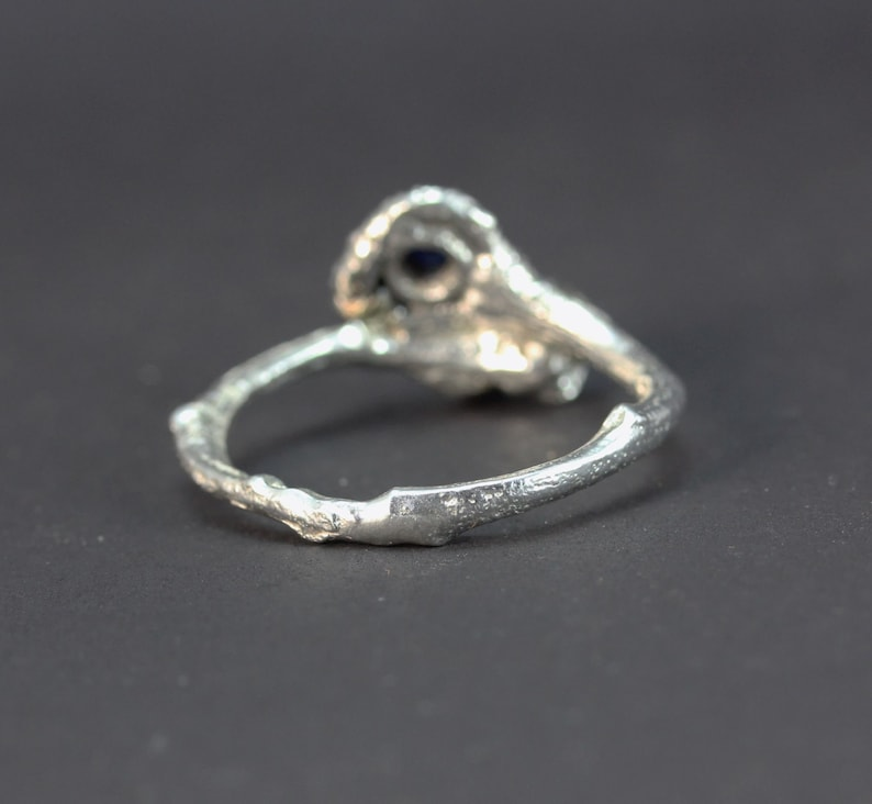 A gold Silver sapphire Twig Organic Ring
