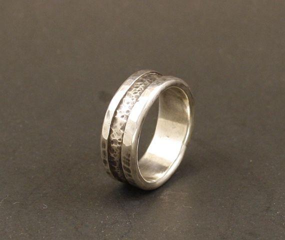 A MansWedding Ring  Organic Wedding Ring Mans Wedding Ring Wedding BandSilver On Sterling Silver   Handmade Jewelry Metalwork Ring