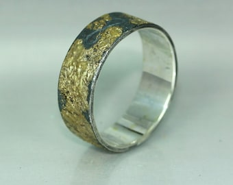 Mens Wedding Band 14K Gold Silver Ring Statement Ring Unique Alternative Band