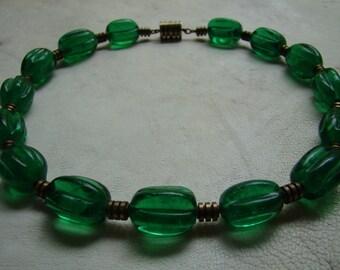 Very Rare Machine Age Deco Green Glass and Brass Choker Necklace Circa 1920s