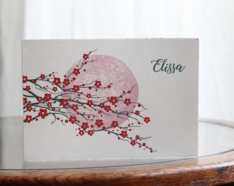 Birth announcement linocut and letterpress Japanese cherry blossom tree and moon