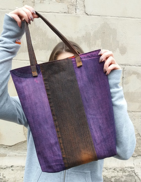 Orange Stripes 1 Upcycled Market Tote Bag