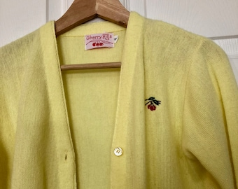 Vintage Yellow Knit Cardigan- Size Small - Spring Cardigan