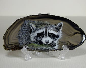 Raccoon Painting on Agate