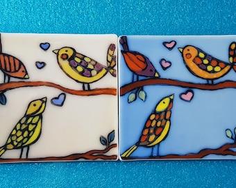 2  Hand Drawn Glass Tiles Birds Decorative Tiles,Kitchen /& Bathroom Decor Sets
