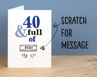 40th Birthday Card 40 and Full of Rude Sarcastic Humorous 40th Card Funny 40th Birthday Gift Secret Message Card Funny Birthday Card for Mum