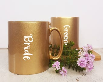 Bride and Groom Matching Mug Gift Mug Set Wedding Gift for Bride Gift for Groom Gift for Wedding Couples Just Married Golden New Home Gifts