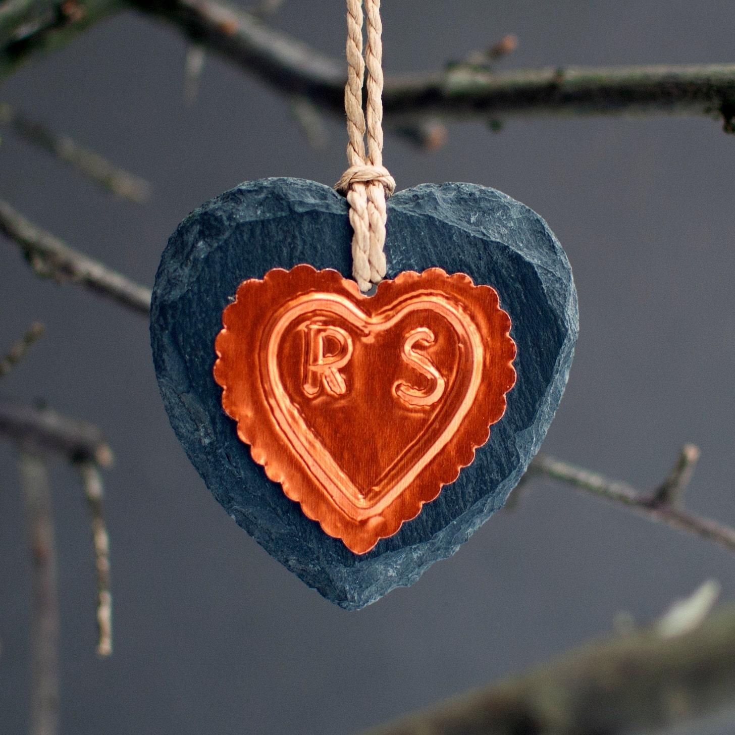 Copper Heart Anniversary Ornament Slate Ornament Gift for Husband Gift for Couple Anniversary Gift for Girlfriend Copper Home Accessories