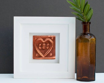 Personalised 7th Wedding Anniversary Copper Heart Gift, Handmade in the UK