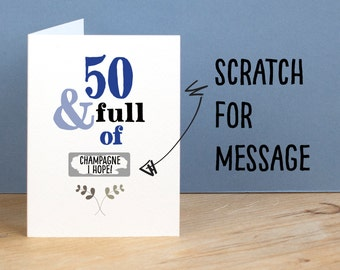 50th Birthday Card 50 and Full of Rude Sarcastic Humorous 50th Card Funny 50th Birthday Gift Secret Message Card Funny Birthday Card for Mum