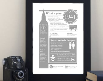 80th Birthday Fun Fact Gift Personalised Print